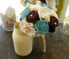 Natural Wedding Bouquet- Junior Turquoise Brown Ivory Bridal Bridesmaid Bouquet, Rustic Wedding, Alternative Bouquet, Keepsake Bouquet on Etsy, $72.00