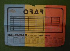 Calendar - orar pionieresc anul scolar 1984-1985, 30x20cm, cu tricolor - Calendar colectie - Okazii Childhood Memories, Nostalgia, Retro, Pray, Calendar