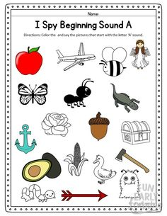 I Spy Beginning Sounds Phonics Activity. Fun free printable for preschool, kindergarten, RTI, and ea Preschool Activity Sheets, Jolly Phonics Activities, Phonics Worksheets, Preschool Learning, Kindergarten Worksheets, Preschool Activities, Kindergarten Readiness, School Readiness, Preschool Kindergarten