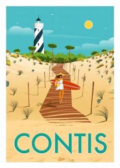 Aquitaine, Vintage Images, Vintage Posters, Photos Encadrées, Seaside Art, Ville France, Skate Surf, Travel Illustration, Surf Art