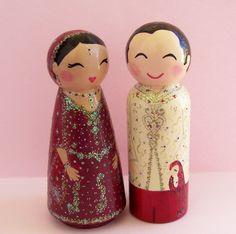Hand Painted Love Boxes Custom Wedding Indian Bride Groom Cake Topper Peg Doll Wood. $115.00, via Etsy.