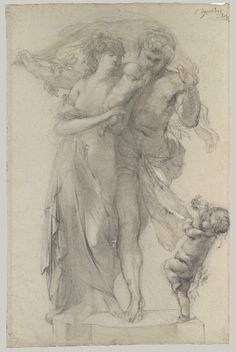 Auguste Rodin, 1840-1917, French,  The Golden Age, c.1878.  Black chalk heightened with white on faded blue paper