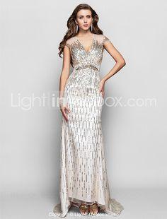 34d42110764 De Baile Decote V Assimétrico Tule   Paetês Brilho   Glitter Evento Formal  Vestido com Miçangas   Lantejoulas de TS Couture® de 2019 por US  179.99