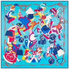16b2840b5855b Twill Silk Square Scarf Cartoon Print Neckerchief High Quality Spain  Foulard Brand Women Shawl and Scarves Hijab