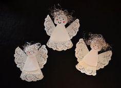 Süße Engel aus Tropfdeckchen basteln.