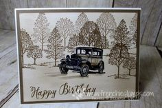 Stamp & Scrap with Frenchie: Sponging a Vintage Background Tutorial Video, Guy Greeting, Vintage Card, Lovely as a Tree
