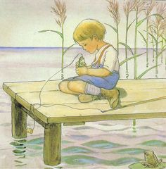 Elsa Beskow: 'Sagan om den nyfikna abborre' or 'The Curious Fish' in English Elsa Beskow, Vintage Book Art, Psychedelic Drawings, Children Sketch, Scandinavian Folk Art, Woodland Creatures, Nature Animals, Children's Book Illustration, Vintage Children