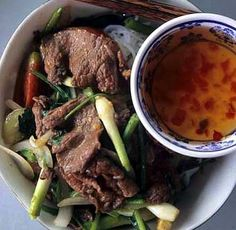 Fresh Rice Noodles with Stir-Fried Beef or Eggrolls                   (Bun Bo Xao)