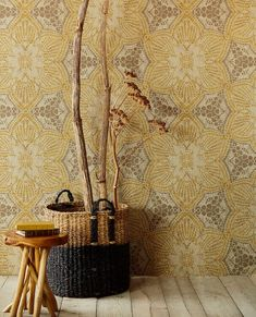 Embrace bohemian style with this floral medallion wall mural. The large scale design shines in metallic shades of light brown and ochre. Ochre Boho Flower Mural comes on 3 panels. Mural Floral, Flower Mural, Hallway Wallpaper, Home Wallpaper, Bohemian Wallpaper, Boho Flowers, Casamance, Photo Mural, Fresco