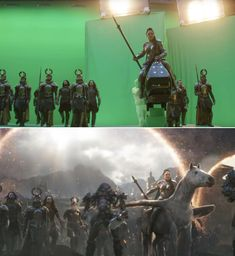 """Valkyrie and her pegasus stare down Thanos and his army. 25 """"Avengers: Endgame"""" Behind-The-Scenes Photos That'll Change The Way You See The Movie Marvel Films, Marvel 3, Marvel Characters, Captain Marvel, The Avengers, Female Avengers, Star Wars Film, Mark Ruffalo, Doctor Strange"""