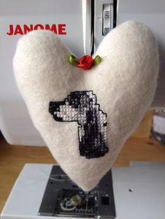 Fabric Hanging Heart featuring a hand embroidered English Cocker Spaniel on Etsy, £8.50