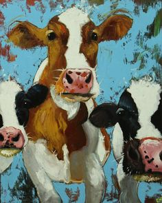 Cows painting animals 499 24x30 inch original portrait by RozArt