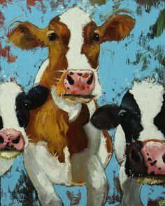 Cows painting animals 499 24x30 inch original portrait by RozArt