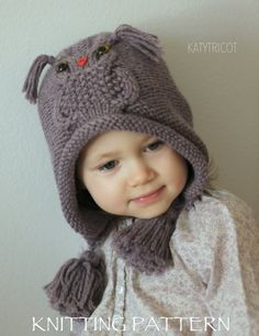 This listing is a KNITTING PATTERN ONLY, not the actual hat, so that you can make the item yourself with your own choice of yarn and color.    NOTE: Patterns are final sale, due to their digital nature they cannot be returned or refunded.    This pattern is available in English, French and Russian (you will get 3 PDF files when buying the pattern).    *****  This cozy and practical hat, adorned with cute whimsy owl and fun tassels will keep your precious one in warmth and make passers-by…