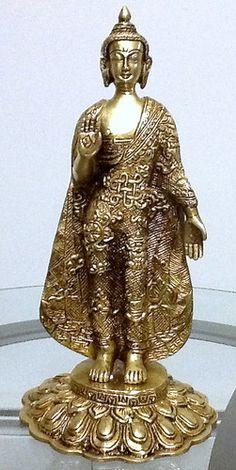 "13"" Brass Buddha Nikashi standing with ornate robe"