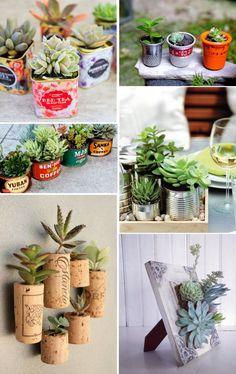 43 creative and unusual pot ideas for succulents and cacti, 43 creative and unusual pot ideas for succulents and cacti. Suculentas Diy, Cactus Y Suculentas, Succulents In Containers, Cacti And Succulents, Planting Succulents, Cactus Decor, Plant Decor, Flower Planters, Flower Pots