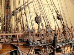 Rigging detail from Model - 74 gun French ship, 1780 constructed by Russian master Dmitry Shevelev under drawings and monographies of the French researcher of sea history of Jean Boudriot ( VAISSEAU DE 74 CANONS 1780 http://www.shipmodels.com.ua/images/models/74_gun_ship/4_b.jpg