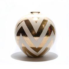 Paul Schneider Large Chevron Gold Vase