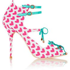 Sophia Webster Finn heart-print canvas and leather pumps