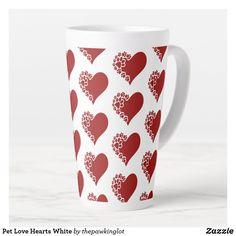 Pet Love Hearts White Latte Mug Coffee Drinks, Coffee Mugs, Holiday Cards, Christmas Cards, Latte Mugs, Beer Mugs, Creature Comforts, Christmas Card Holders, Pet Shop