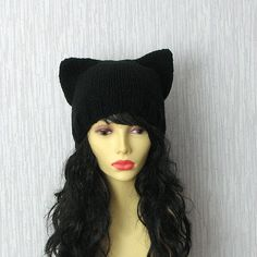 Cat hat Hand Knit Cat Ear Hat in Black  Cat by AlbadoFashion