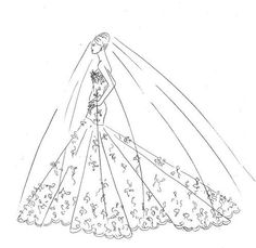 wedding gown sketch by #RomonaKeveza for Carrie Underwood via Aisle Dash