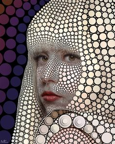 Digital portrait from circles placed one by one on a black background by Ben Heine