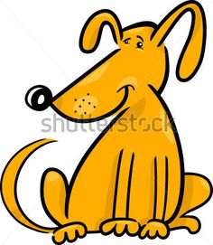 cartoon doodle illustration of cute yellow dog or puppy