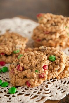 Paula Deens Monster Cookies (main ingredients:  oatmeal, chocolate chips, peanut butter, MMs, with raisins being optional, etc., etc.)  The best!