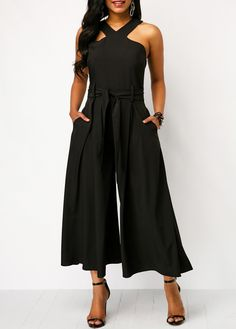 8d02e23c3d37 Sleeveless Solid Black Belted Pocket Jumpsuit | Rotita.com - USD $35.33