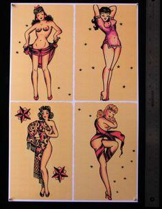 SJP055 Pin Up Girls 1 Sheet Vintage Sailor Jerry Style Traditional Flash Print | eBay