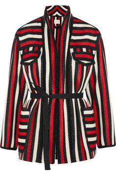 Étoile Isabel Marant's 'Breeda' jacket is woven from lightly structured wool-blend and is unlined for lightness. This striped design has detachable waist ties to temper the loose fit. Offset the vivid red, black and white palette with bleached denim. Isabel Marant, Bleached Denim, Popular Outfits, Fresh Outfits, Spring Jackets, Fashion Mode, Fashion Trends, Striped Jacket, Frame Denim
