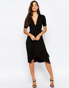 ASOS Midi Tea Dress With Wrap Front