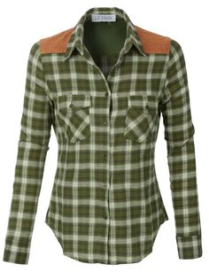 LE3NO Womens Lightweight Button Down Checkered Flannel Shirt with Suede Detail