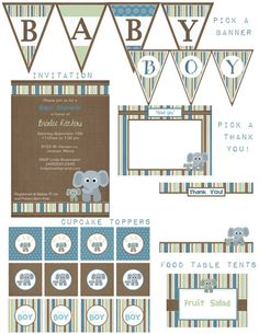Decorations for elephant baby boy shower