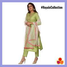 ec1aa51aa7 Pista Green Embroidered Kurti and Straight Pants with Off-White Net  Sequenced Dupatta