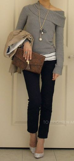 off-the-shoulder heather grey sweater w/ dark blue skinny jeans, lovely!