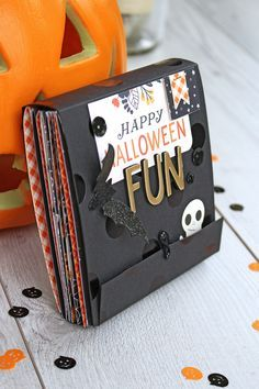 Halloween Mini Album with the Clear Cut Punches by Chantalle McDaniel for We R Memory Keepers Scrapbooking Album, Mini Scrapbook Albums, Scrapbook Paper Crafts, Scrapbook Supplies, Scrapbook Organization, Halloween Mini Albums, Halloween Scrapbook, Mini Album Scrap, Homemade Journal