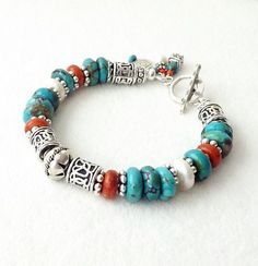 Hey, I found this really awesome Etsy listing at https://www.etsy.com/listing/203632089/turquoise-coral-freshwater-pearl-silver
