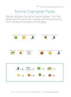 Summer cryptogram.  An easy puzzle hiding a secret summer phrase.