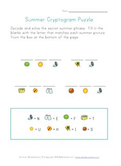 Summer Cryptogram Puzzle