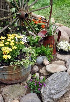 4 Creative And Inexpensive Ideas: Backyard Garden Inspiration Decks beautiful backyard garden budget.Easy Backyard Garden Patio tiny backyard garden back yard.Small Backyard Garden Home. Garden Art, Garden Decor, Country Garden Decor, Landscaping With Rocks, Rock Garden Landscaping, Country Gardening, Plants, Rustic Gardens, Front Yard