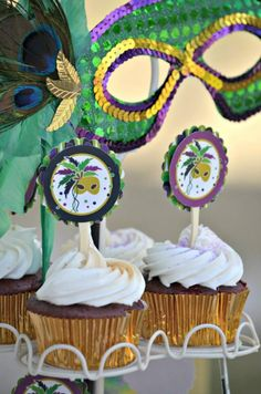 take logo design with mask and add it to the cupcakes - print on cardstock, paper punch and add to stir sticks
