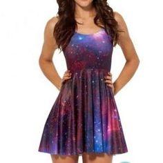 Galaxy Purple Skater Dress