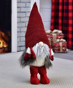 Take a look at this Gnome Table Décor today!Add whimsy to your tabletop or holiday tableau with this classic gnome décor. Swedish Christmas, Christmas Gnome, Scandinavian Christmas, Christmas Projects, Christmas 2017, Christmas Ideas, Christmas Decorations, Christmas Ornaments, Holiday Decor