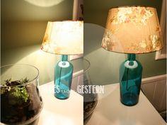 Ich schon wieder. Und eine weitere DIY Anleitung im Gepäck. Eine Lampe aus einer schönen Glasflasche. Die Flasche habe ich schon eine weile, wusste aber nicht wirklich was ich mit Ihr machen sollte. Eine weitere Vase? Ne, da hab ich wirklich schon genug. So verschwand sie erstmal in der Bastelschubl