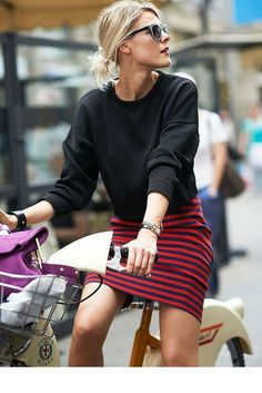 sneakers and pearls, street style, wear a stripy skirt with a monocromatic knit or use a floral print for a more playful look, trending now.png