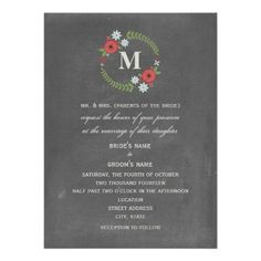 """Chalk Inspired Floral Wreath Wedding 5.5 x 7.5"""" Announcement by Jill's Paperie"""