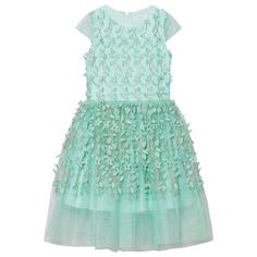 Turquoise and Gold Leaf Applique Dress