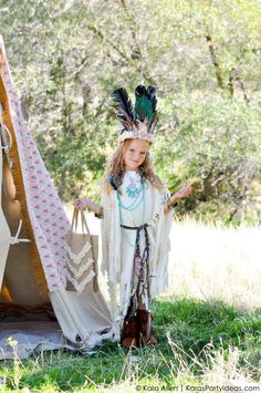 NO SEW Sacagawea DIY Indian halloween costume by Kara Allen | Kara's Party Ideas | KarasPartyIdeas.com for Michaels #MichaelsMakers #KaraAllen #KarasPartyIdeas BOHO